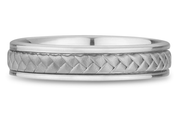 18K White Gold Braided Wedding Band (5mm)