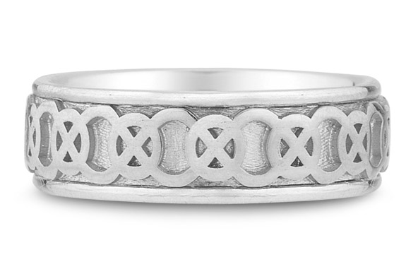 Celtic Circle Knot Wedding Band Ring in 14K White Gold