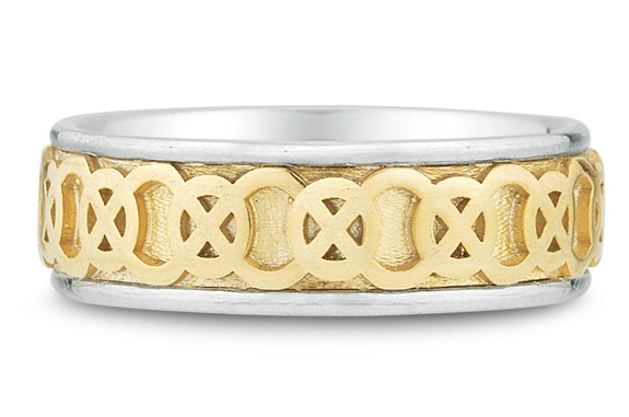 Celtic Circle Knot Wedding Band Ring, 14K Two-Tone Gold