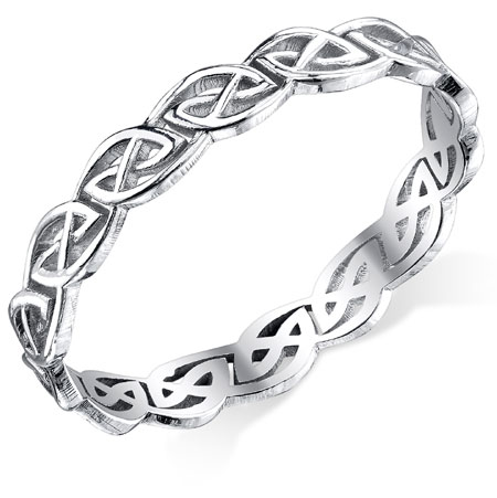 Celtic Knot Wedding Band in 14K White Gold