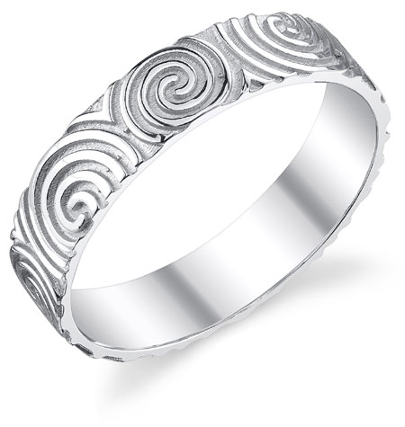 Celtic Spiral Wedding Band Ring in 14K White Gold