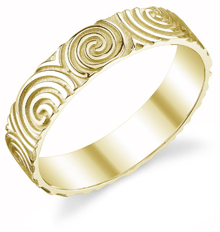 Celtic Spiral Wedding Band in 14K Yellow Gold
