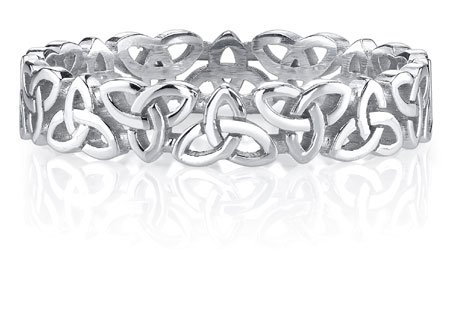 Celtic Triquetra Knot Wedding Band Ring In 14k White Gold