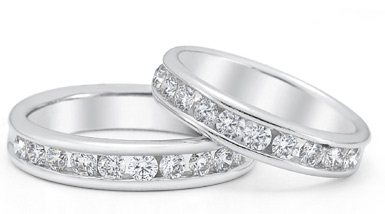 1.50 Carat Diamond Wedding Band Set in 14K White Gold (Rings, Apples of Gold)