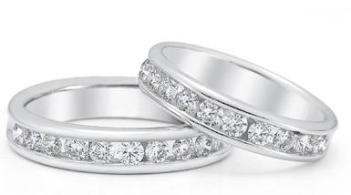 1.50 Carat Diamond Wedding Band Set in 14K White Gold