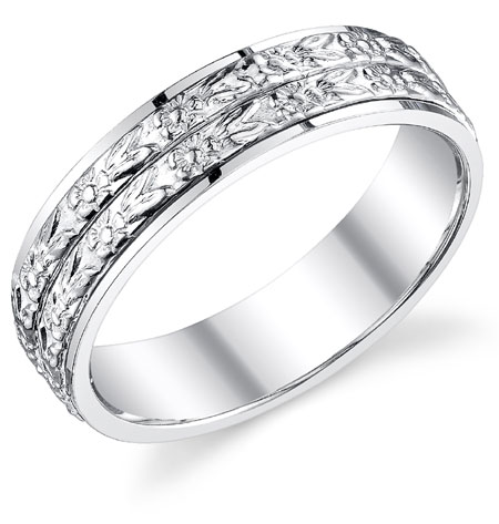 Double Floral Wedding Band Ring in 14K White Gold