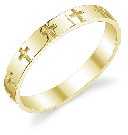 Engraved Cross Wedding Band Ring in 14K Yellow Gold