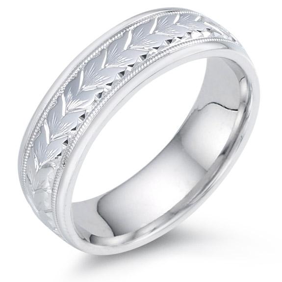 14K White Gold Flower Petals Wedding Band Ring