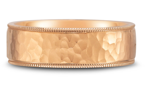 Flat Hammered Wedding Band in 18K Rose Gold