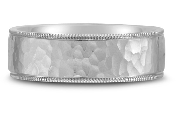 Flat Hammered Wedding Band in 18K White Gold