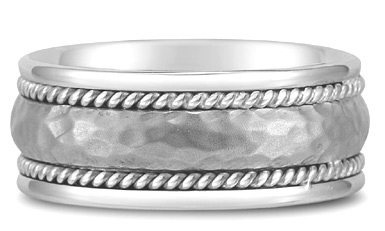 Domed Hammered Wedding Band in 18K White Gold