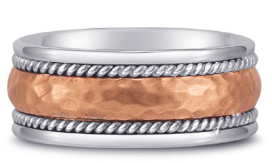 Domed Hammered Wedding Band in 14K White and Rose Gold