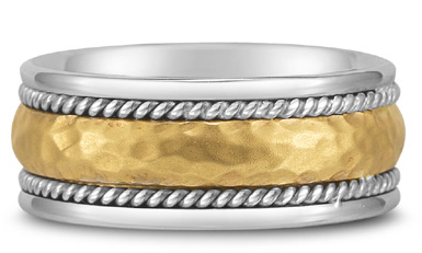 Domed Hammered Wedding Band in 18K Two-Tone Gold