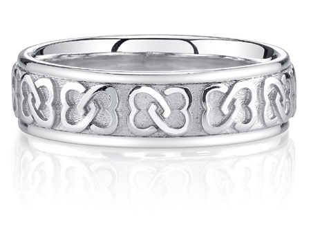 Interlaced Celtic Heart Knot Wedding Band Ring 14K White Gold