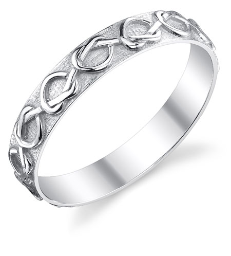 Sterling Silver Lover's Knot Heart Wedding Band Ring in Sterling Silver