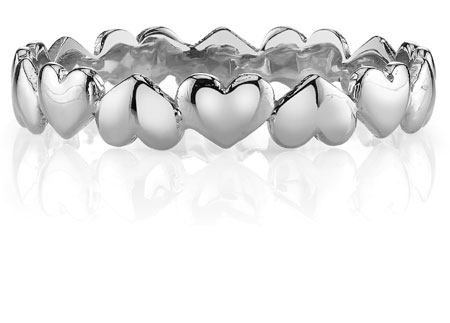 Petite Heart Wedding Band Ring, 14K White Gold