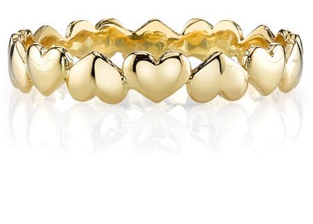 Petite Heart Wedding Band Ring 14K Yellow Gold
