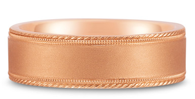 Buy Satin-Finished Edged-Milligrain Wedding Band in 14K Rose Gold