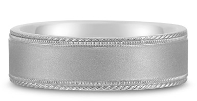 Buy Satin-Finished Edged-Milligrain Wedding Band in 18K White Gold