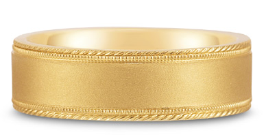 Buy Satin-Finished Edged-Milligrain Wedding Band in 14K Yellow Gold