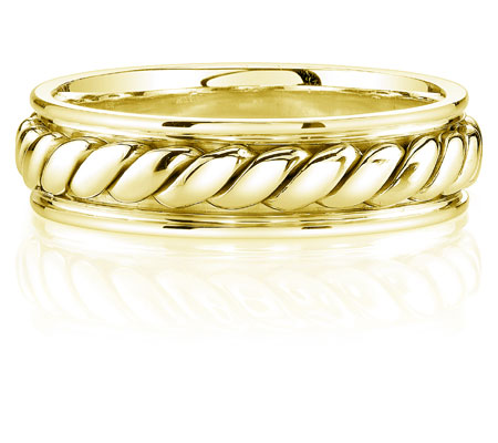 Rope Design Wedding Band in 14K Yellow Gold