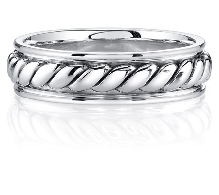 Rope Design Wedding Band Ring in 14K White Gold