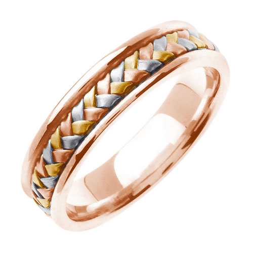 14K Rose and Tri-Color Gold Braided Wedding Band Ring