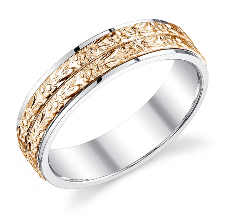 14K Rose and White Gold Double Floral Band Wedding Ring