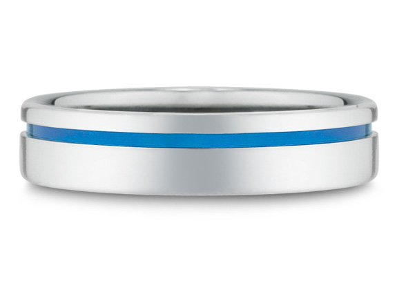 Blue Titanium Wedding Band