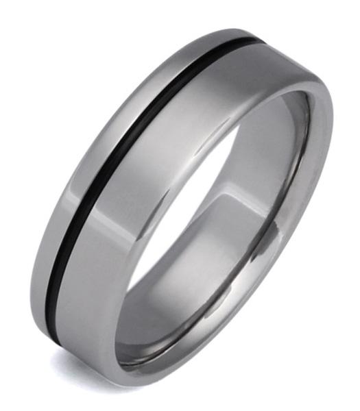Black Titanium Wedding Band Ring