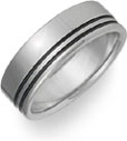 Two Row Black Titanium Wedding Band