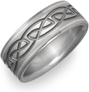 platinum and titanium celtic wedding band ring