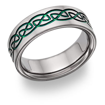 Green Titanium Celtic Knot Wedding Band