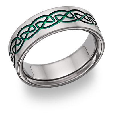 green titanium celtic knot wedding band - Celtic Mens Wedding Rings