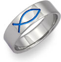 Blue Ichthys Titanium Wedding Band