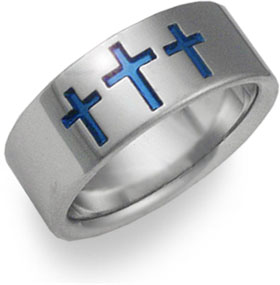 Blue Cross Titanium Wedding Band thumbnail