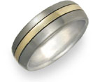 Titanium and 18K Yellow Gold Wedding Band Ring