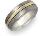 Titanium and 18K Yellow Gold Wedding Band Ring