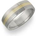 Titanium and 18K Yellow Gold Flat Wedding Band