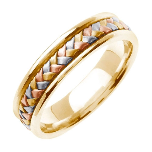 14K Yellow Gold and Tri-Color Woven Wedding Band Ring