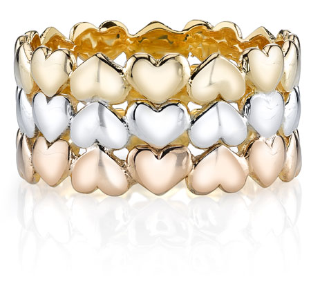 Triple Heart Wedding Band Ring 14K Tri Color Gold