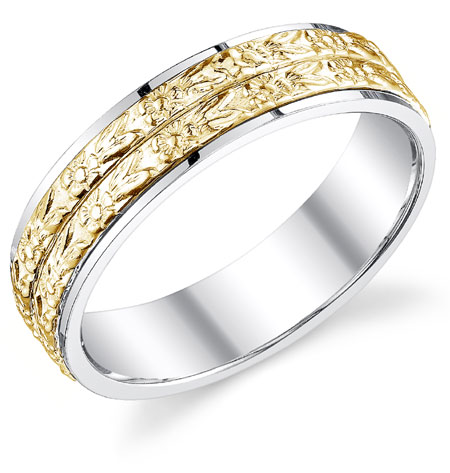14K Two-Tone Gold Double Floral Band Wedding Ring