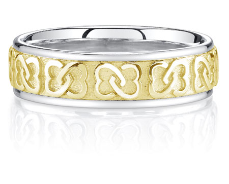 Titanium and 14K Gold Interlaced Hearts Wedding Band Ring