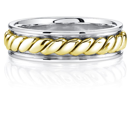 Two-Tone 14K Gold Rope Design Wedding Band Ring
