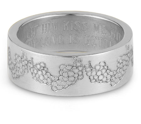 Your Love is Better than Wine Bible Verse Ring in Sterling Silver