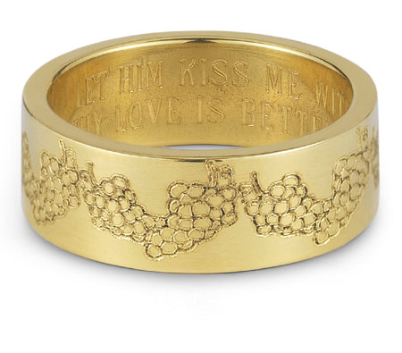 Your Love is Better than Wine Bible Verse Ring in 14K Yellow Gold