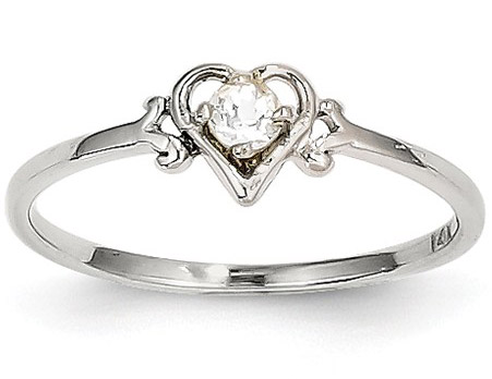 White Topaz Gemstone Heart Ring, 14K White Gold