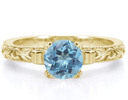 1 Carat Art Deco Blue Topaz Engagement Ring, 14K Yellow Gold