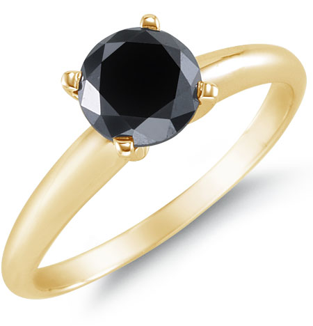1 Carat Black Diamond Solitaire Ring, 14K Yellow Gold