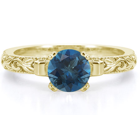1 Carat Deep London Blue Topaz Art Deco Ring, 14K Yellow Gold